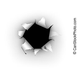 Paper Burst - A hole being burst through a white background