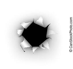 Paper Burst - A hole being burst through a white background