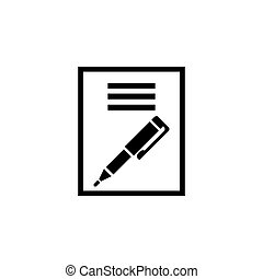 Paper Business Contract Pen Signature. Flat Vector Icon. Simple black symbol on white background
