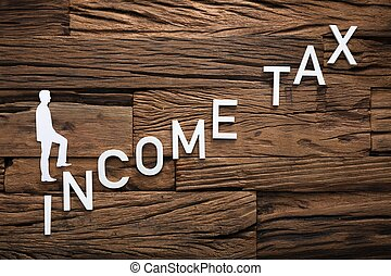 Paper Businessman Climbing Income Ladder On Wood