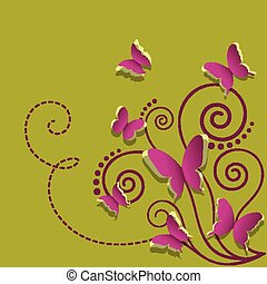 Paper butterflies and plant on a green background
