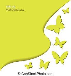 Paper butterflies on a green background