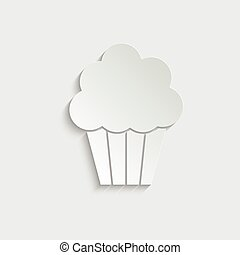Paper cake icon vector - black sign