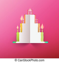 Paper Cake with Candles on Pink Background. Vector.