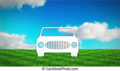 paper car on grass field. 3D render animation