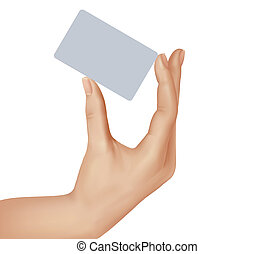 Paper card in man hand