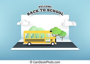 Paper card of school bus running on the road, back to school concept.
