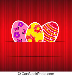 Paper card with easter eggs vector illustration