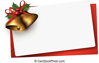 Paper card with golden christmas bells.