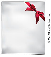 Paper Card with Red Bow. Vector illustration.