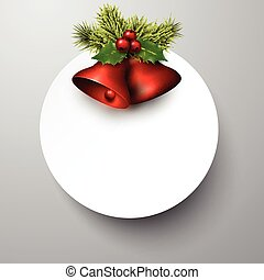 Paper card with red shiny christmas bells.