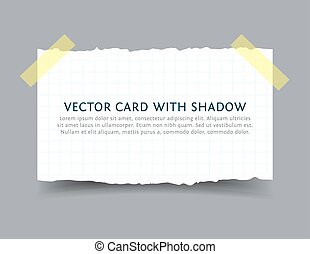 Paper card with scotch tape pieces and shadow - Torn squared...