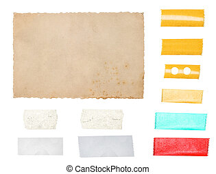 Paper cardboard with tape strips isolated on white background
