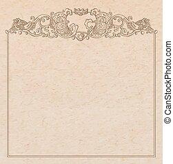 Paper cardboard with vintage frame - Vintage old paper...