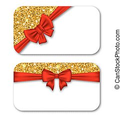 Paper Cards with Red Bow Ribbon and Golden Dust