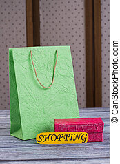 Paper carrier shopping bag and gift box.