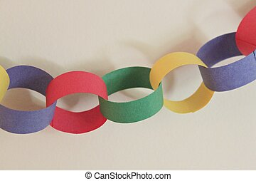 Closeup of hanging paper chain banner