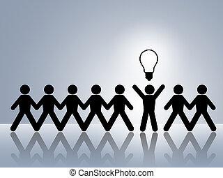 paper chain figures bright idea brillant idea new innovation