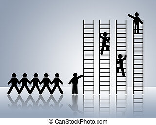 paper chain figures business man climbing ladder of success and getting job promotion