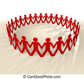 group of men symbols holding hands in a circle with shadow