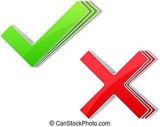 Paper check and cross symbols