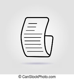 Paper check line icon on gray background with soft shadow