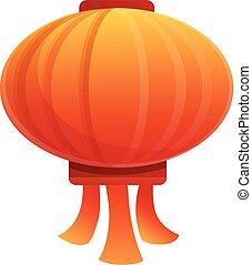 Paper chinese lantern icon, cartoon style
