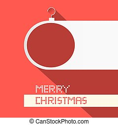 Paper Christmas Ball - Merry Christmas Title on Red Background