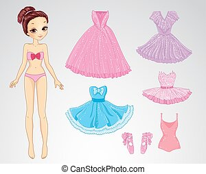 Paper Christmas Brunette Doll - Vector illustration of paper...