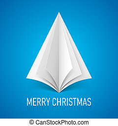 Paper Christmas tree. - Abstract white paper Christmas tree...