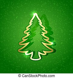 Paper Christmas tree on green background
