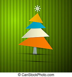 Paper Christmas Tree on Retro Green Background