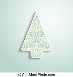 paper Christmas tree with damask pattern