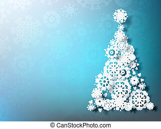 Paper christmass tree on blue background. EPS 10