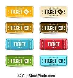 Paper Cinema Tickets Set, Vector Concert or Festival Ticket Symbols. Admit One Movie Icon Set.