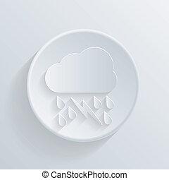 paper circle flat icon, cloud rain lightning