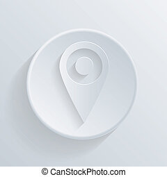 paper circle flat icon, pin location on the map