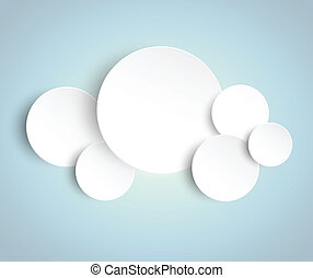 Paper circles on blue background