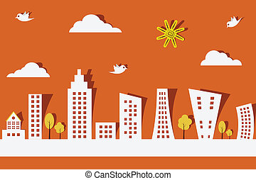 easy to edit vector illustration of cityscape made f paper