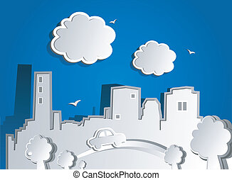 Paper city. Vector illustration