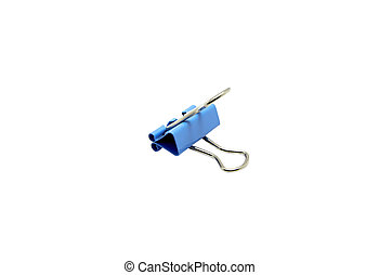 Paper clip blue pastel color isolated on a white background. File contains with clipping path.