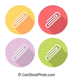 Paper Clip Flat Icons Set - Paper Clip Flat Style Design...