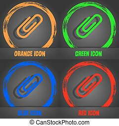 Paper clip icon. Fashionable modern style. In the orange, green, blue, red design. Vector