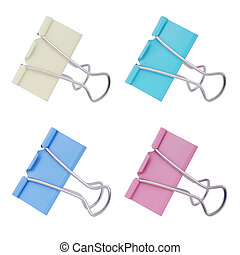 Paper clip - Multicolored paper clips on a white background...