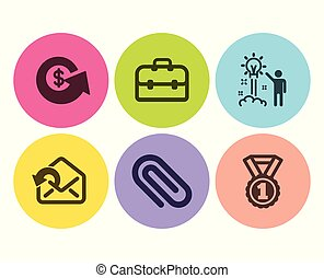 Paper clip, Portfolio and Dollar exchange icons set. Send mail, Creative idea and Best rank signs. Vector