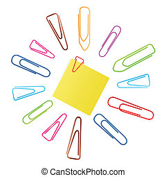 Paper clip set background with note paper