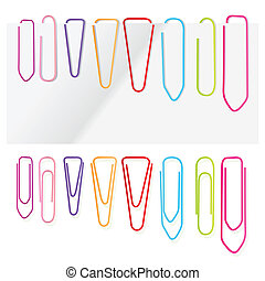 Paper clip set vector background