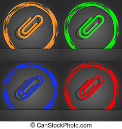 Paper clip sign icon. Clip symbol. Fashionable modern style. In the orange, green, blue, red design.