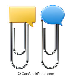 Paper clip with speak bubble