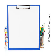 paper clipboard and school supplies isolated on white...
